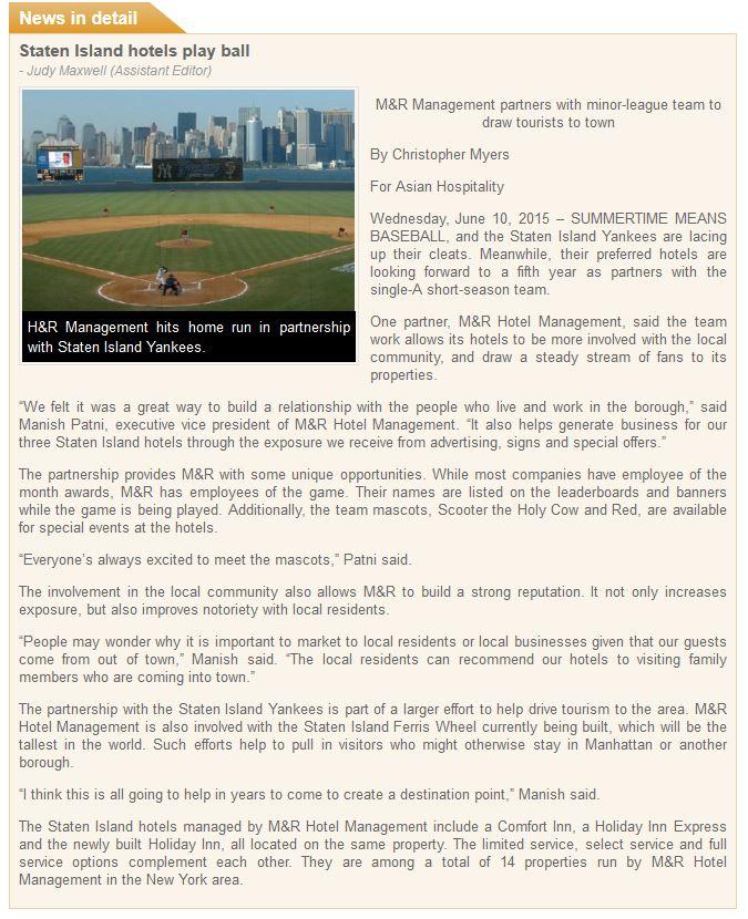 Asian Hospitality Staten Island Yankees